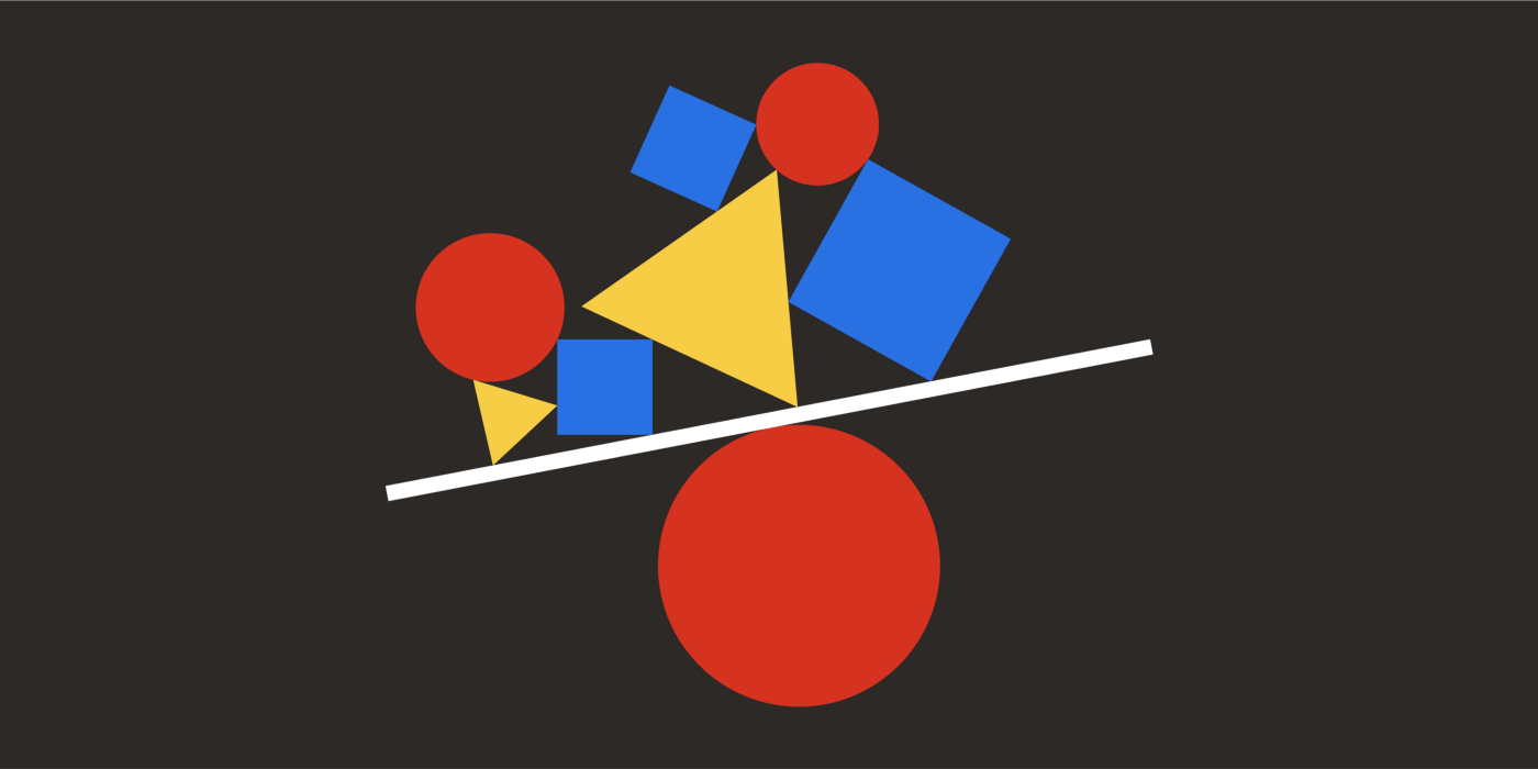 A line balances atop a circle and precariously supports a cluster of shapes.