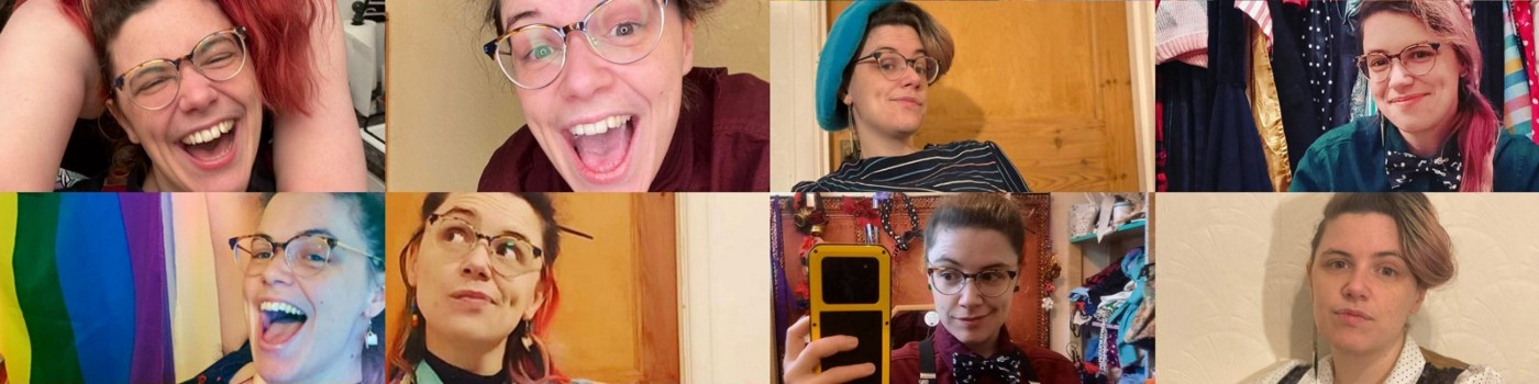 A montage of 8 photos of Becki in a range of different outfits with various facial expressions including laughing, smiling, and a slight knowing smirk.