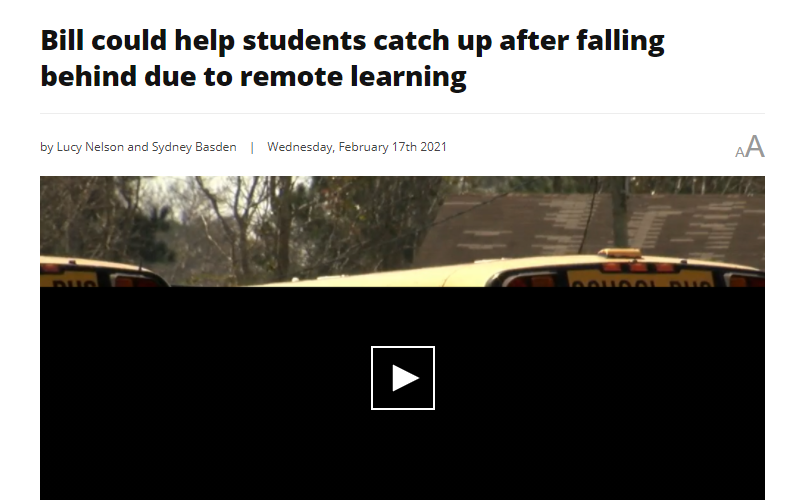 News: Bill could help students catch up after falling behind due to remote learning