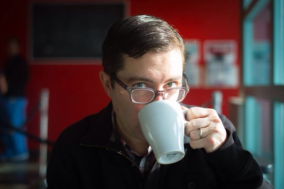 Mat the copywriter drinking coffee on an indelible project