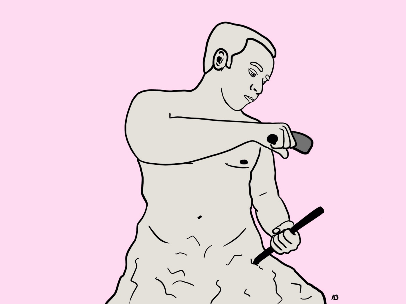 Illustration of author sculpting himself from rock.