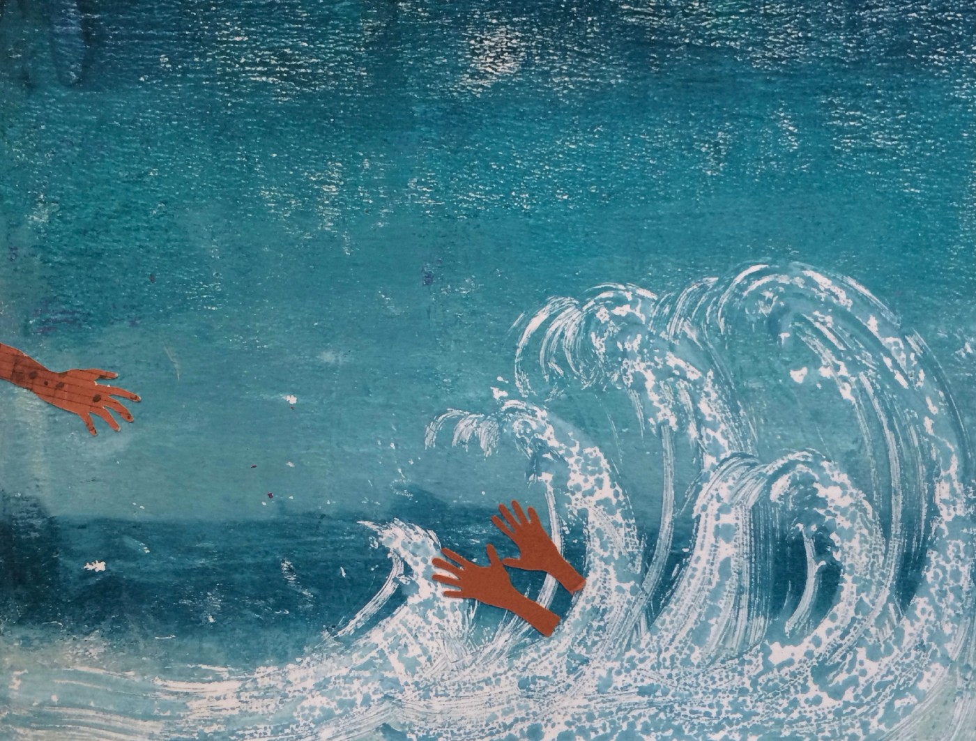 Mixed media art of a person reaching out from under a wave and another hand reaching out to save them