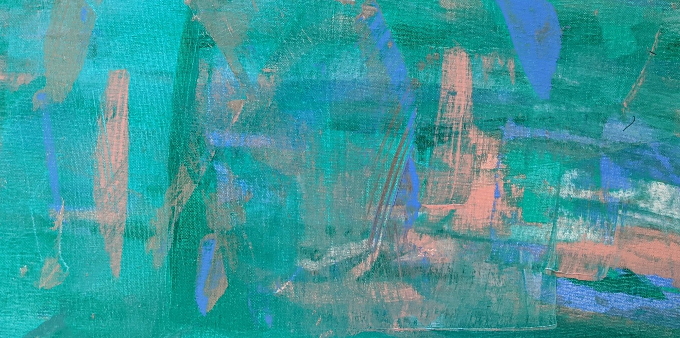 An abstract painting. The canvas is mostly light teal, with swipes of light blue and peach pink. The overall effect is relaxing.