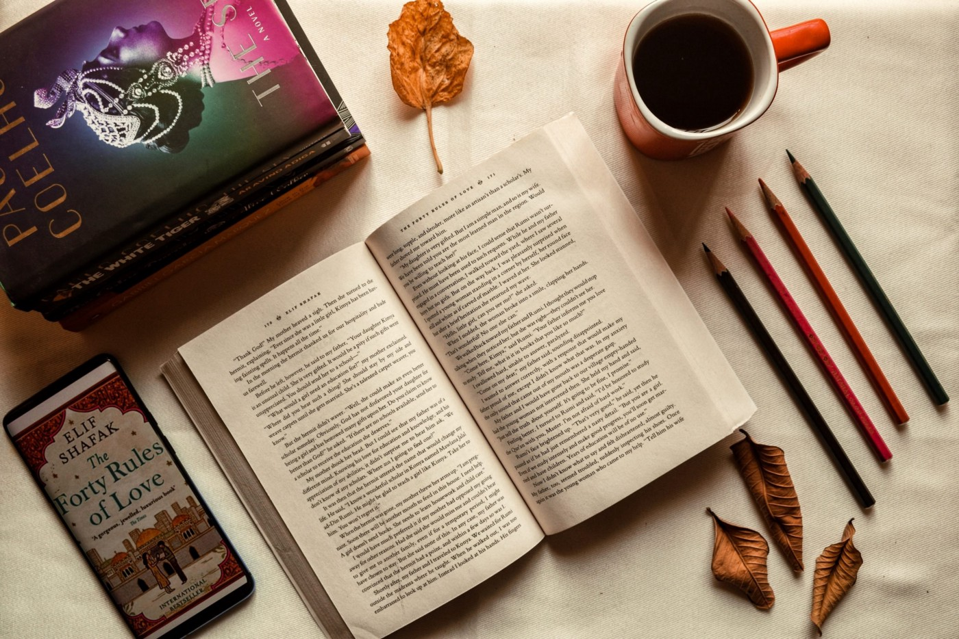 list of books to read—pencils, leaves, coffee and the book in one frame