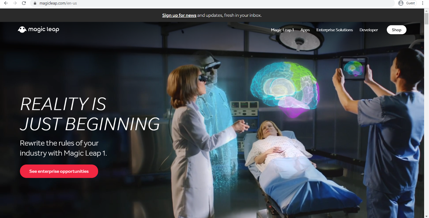 A screenshot of the Magic Leap website's homepage taken in May 2020, showing the device being worn by surgeons