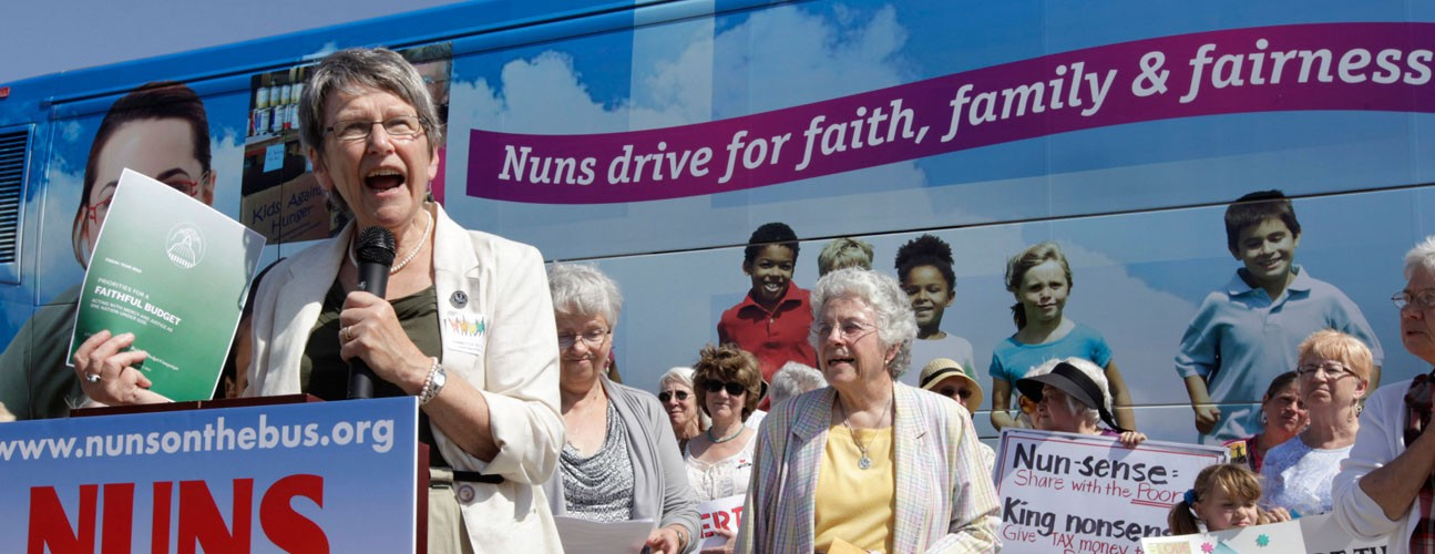 Catholic sisters speaking on Nuns on the Bus tour to draw attention to health care, housing, employment and other social needs.
