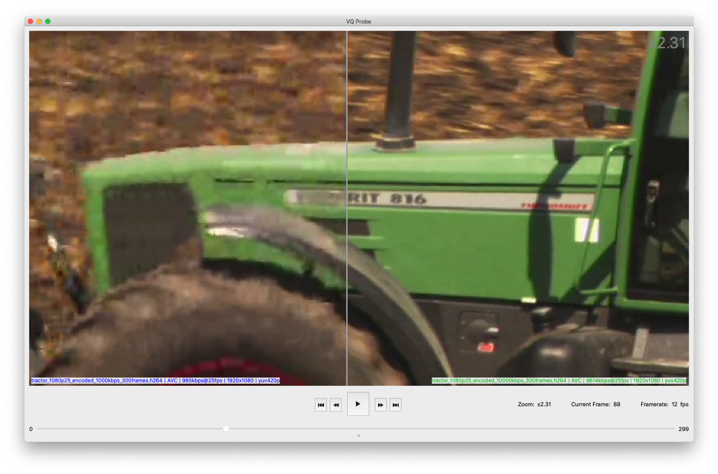 Zoomed in green tractor cabin