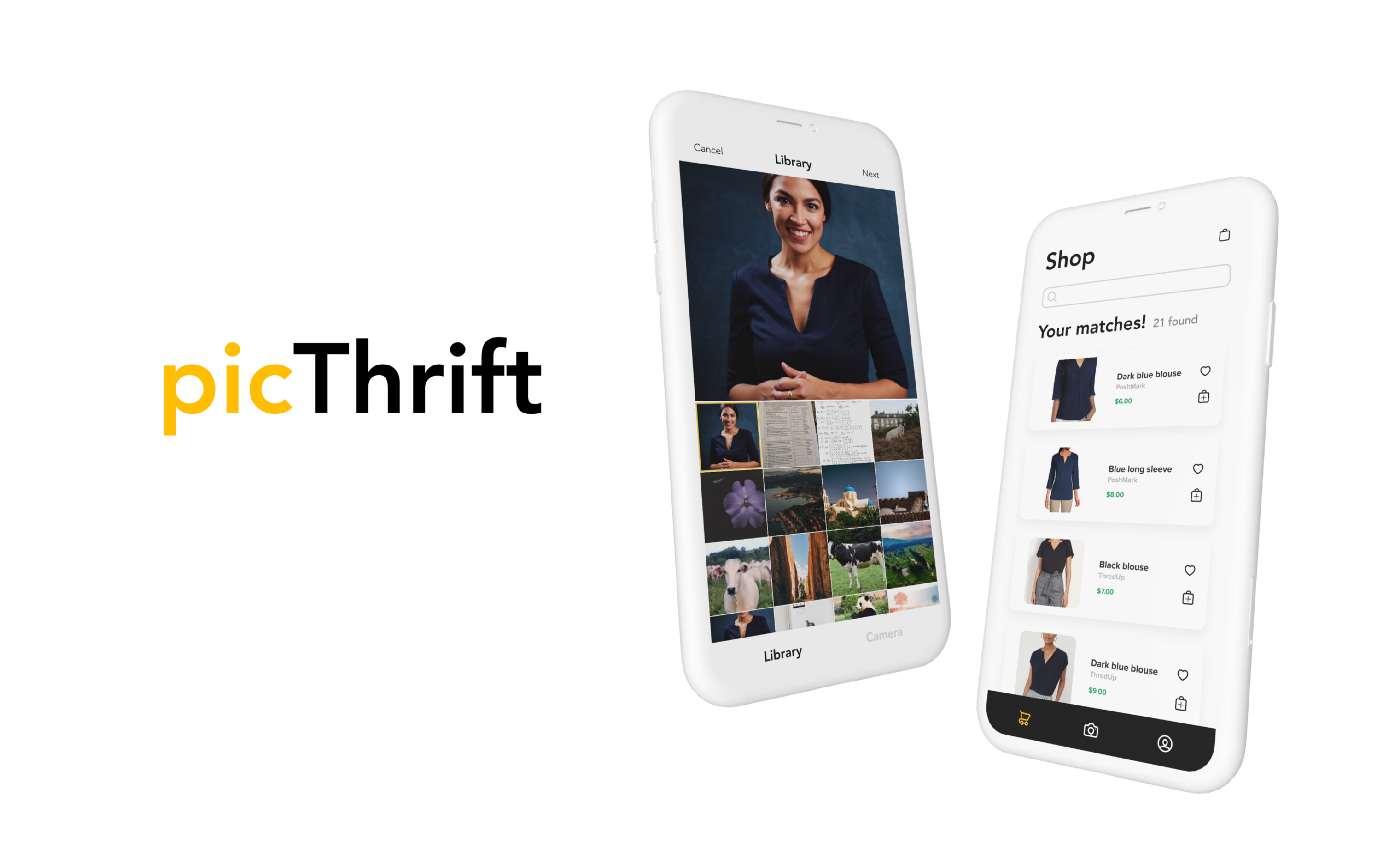 picThrift header image. Camera library screen and a clothes that match screen in white iphone mockups