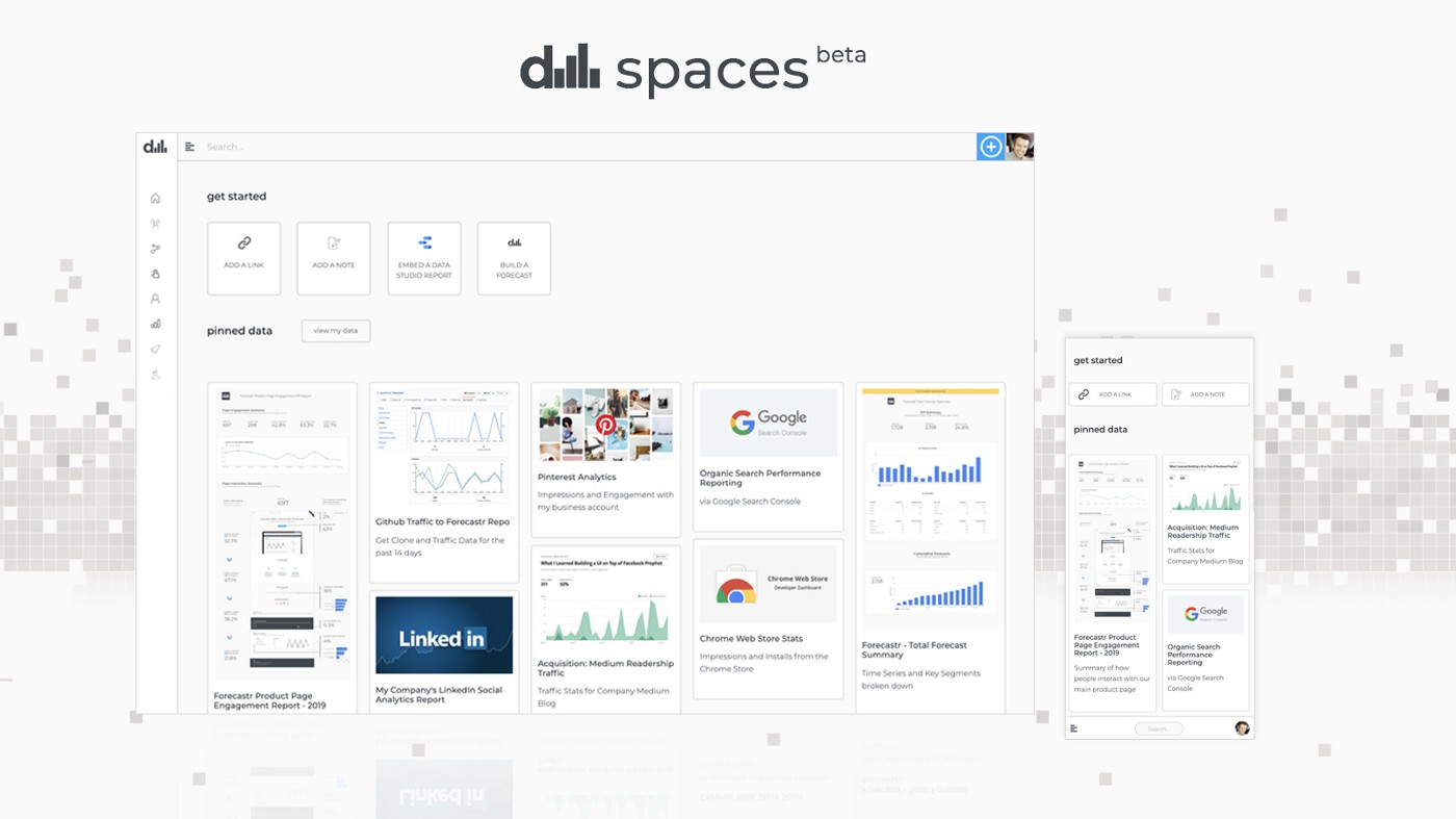 The data spaces homepage experiences on desktop and mobile.