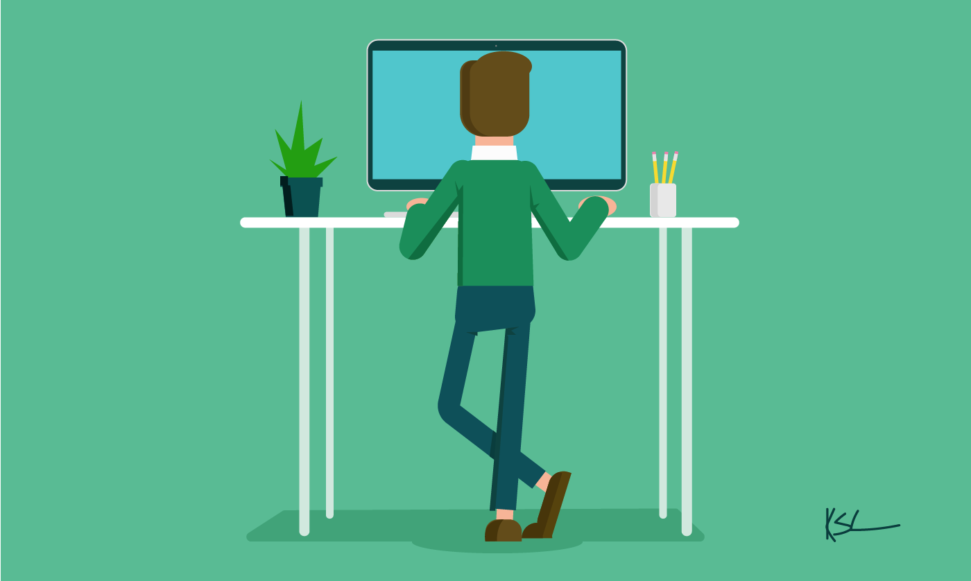 Illustration of man working at a standing desk on a computer.