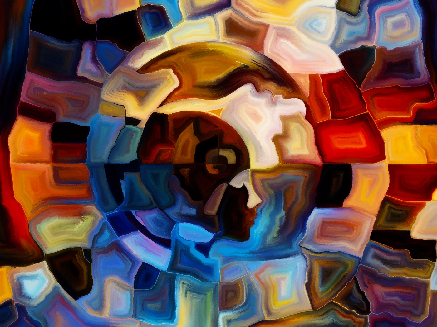 Human head within a colorful abstract image.