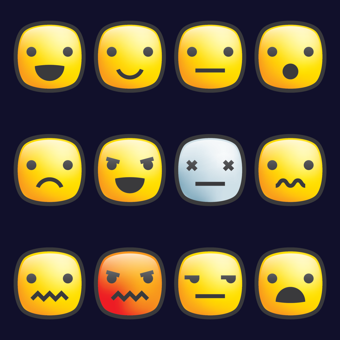 An range of emotions through emoji faces