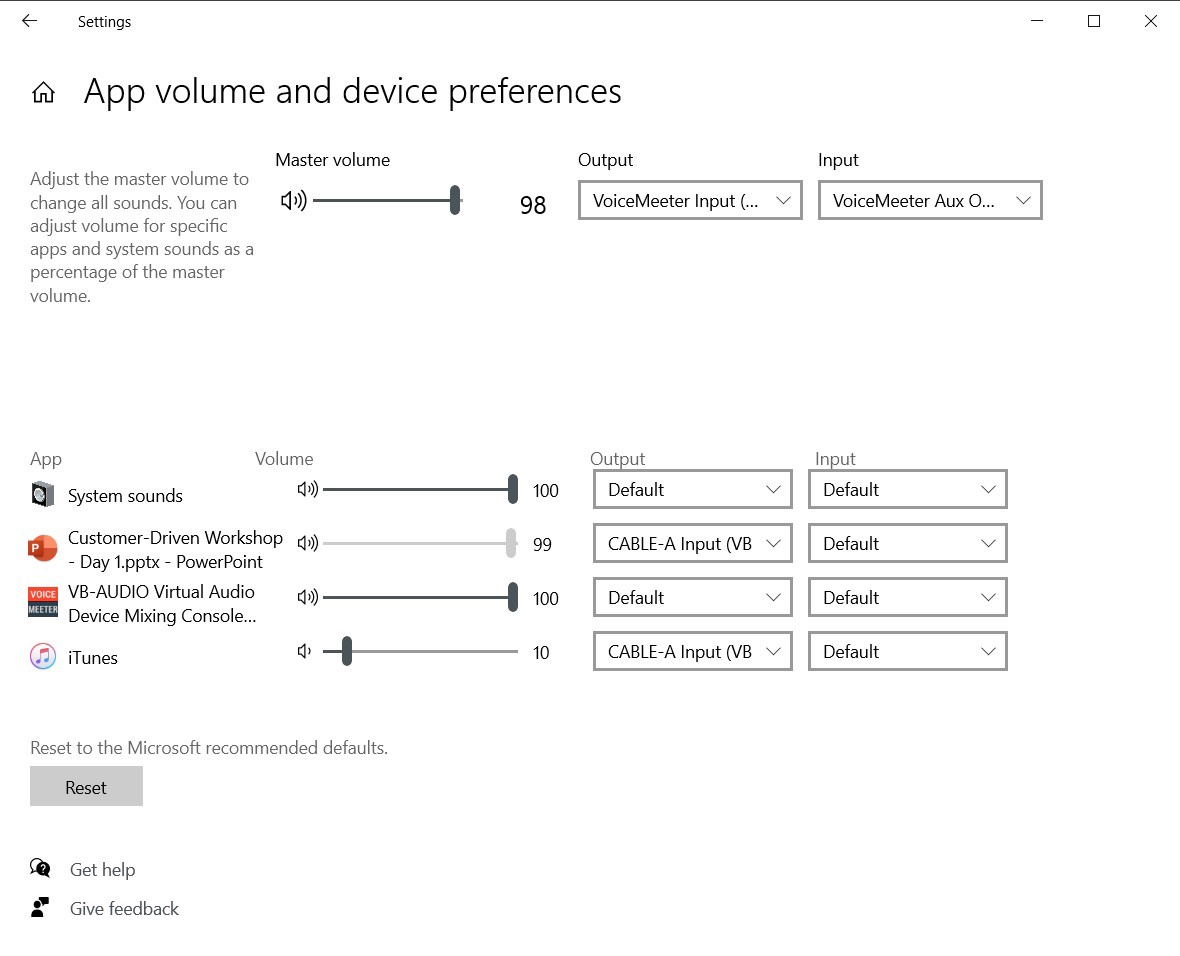 Screenshot of App volume and devices preferences dialog in Windows