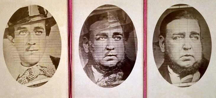 A triptych created in 1876 designed to prove that Roger Tichborne (left, in 1853) and the person claiming to be him (the 'Claimant', right in 1874) were one and the same, as per the central blended image. Image: Wikipedia/Public Domain