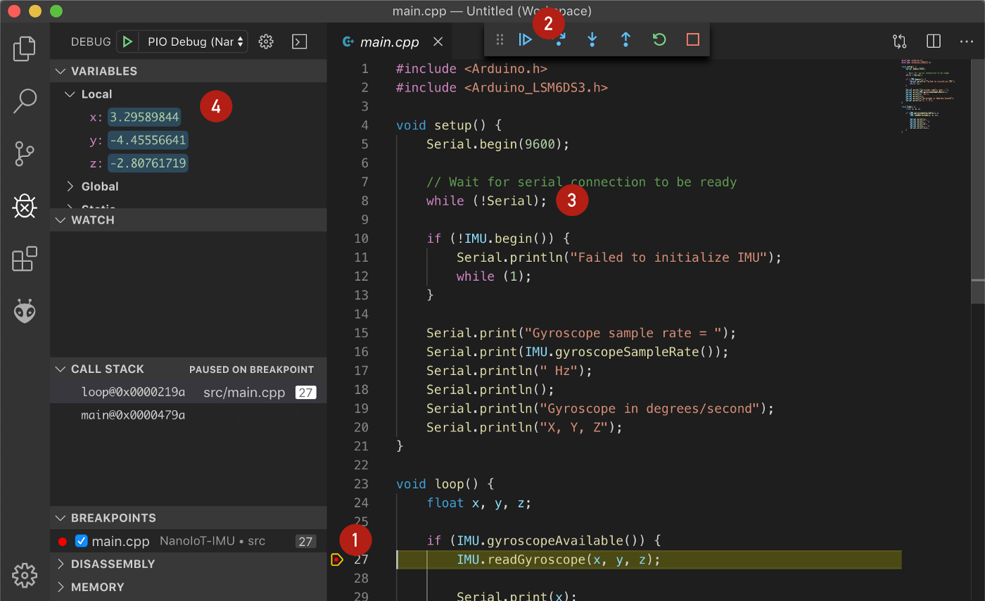 PlatformIO debug session: breakpoint, continue execution, serial connection check, variable inspection