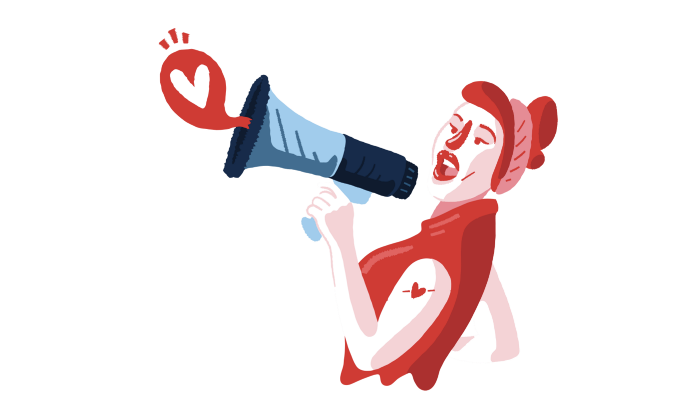 Woman speaking into a megaphone, a speech bubble with a heart comes out.