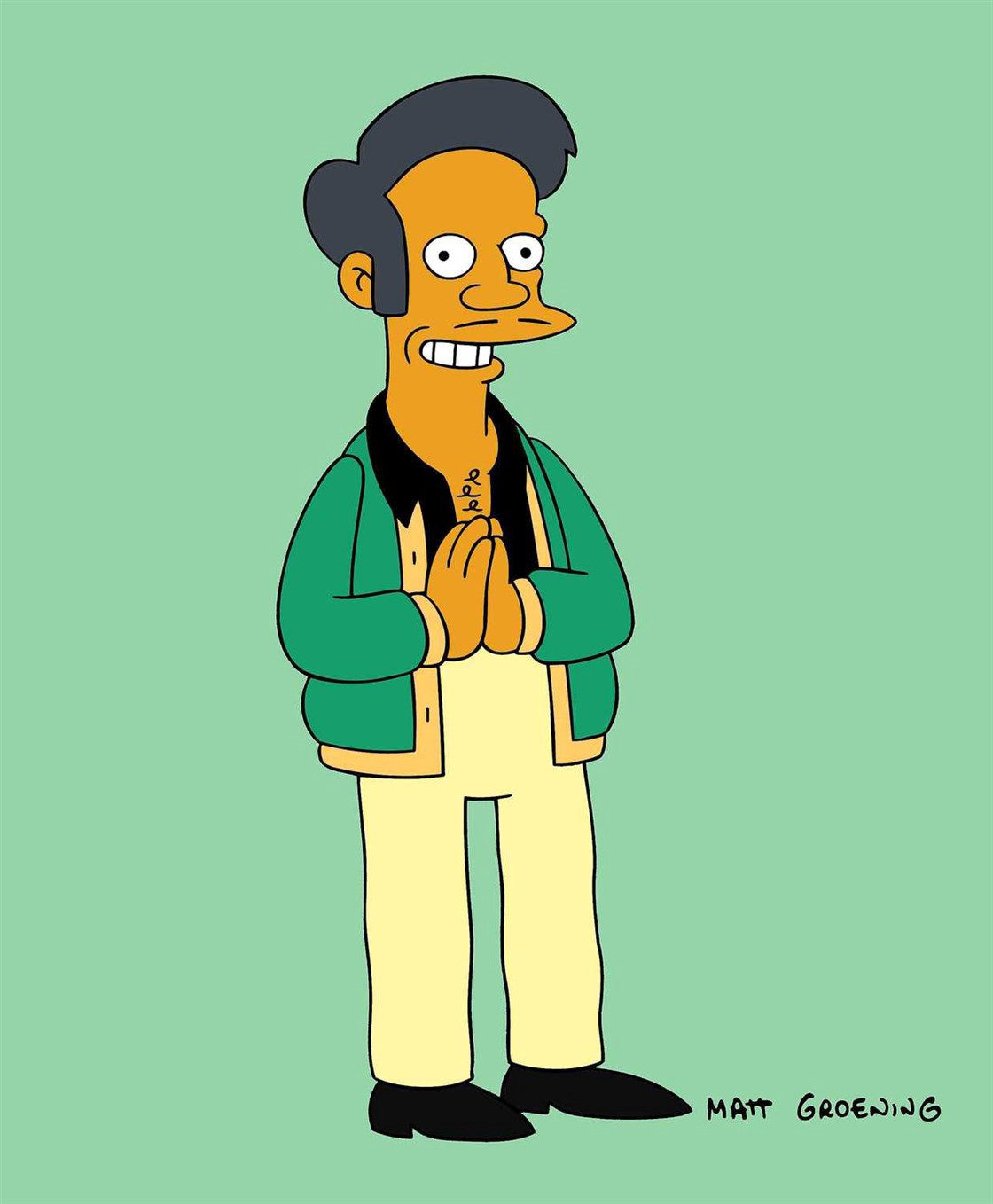 "The character Apu from The Simpsons is depicted doing a stereotypical palms-together ""namaste"" gesture"