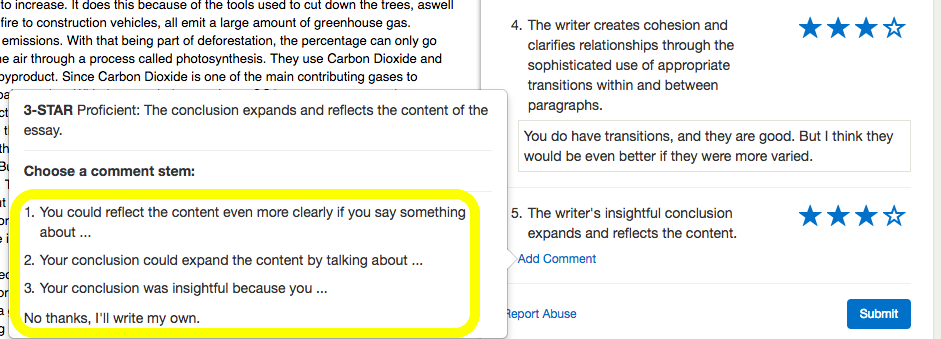"""A screenshot of the """"comment stem"""" interface in Writable. (Image from Writable)"""