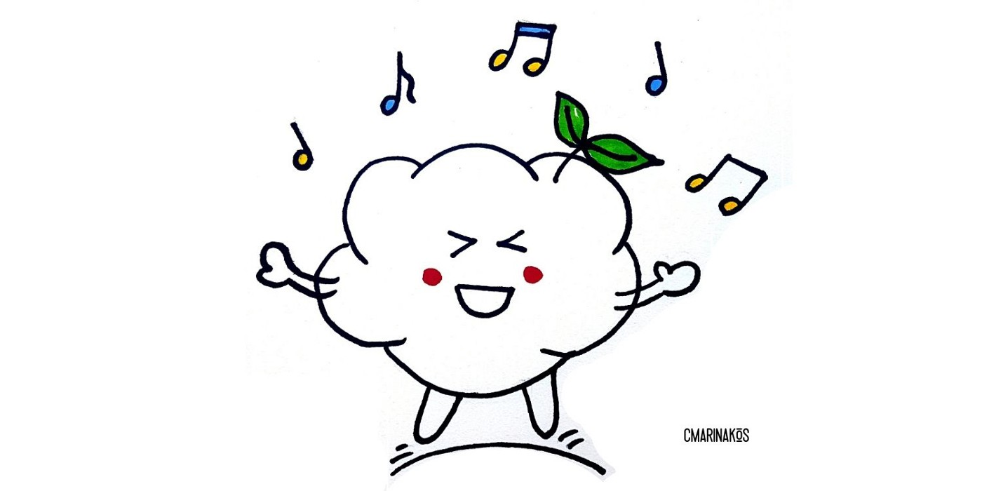 Cloud character with music notes around him, eyes shut, and a big smile on it's face.