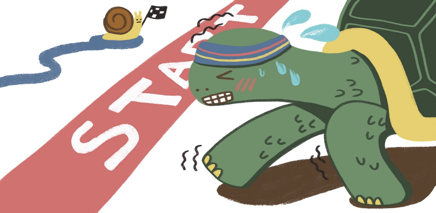 A turtle in a sweatband, struggling hard to get across the start line with an unfazed snail onlooker.