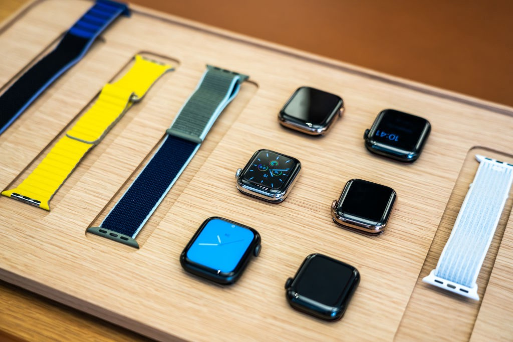 A photo of a disassembled Apple watch on display at a store.