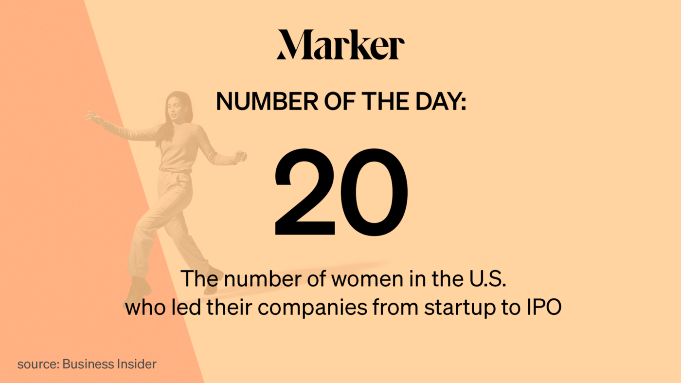 20: The number of women in the U.S. who led their companies from startup to IPO Source: Business Insider