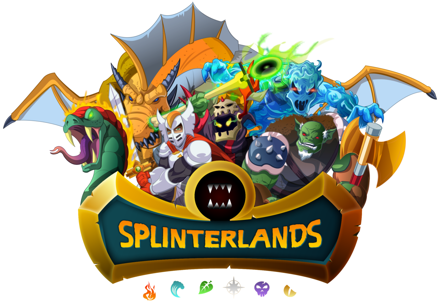 Splinterlands logo with creatures from game