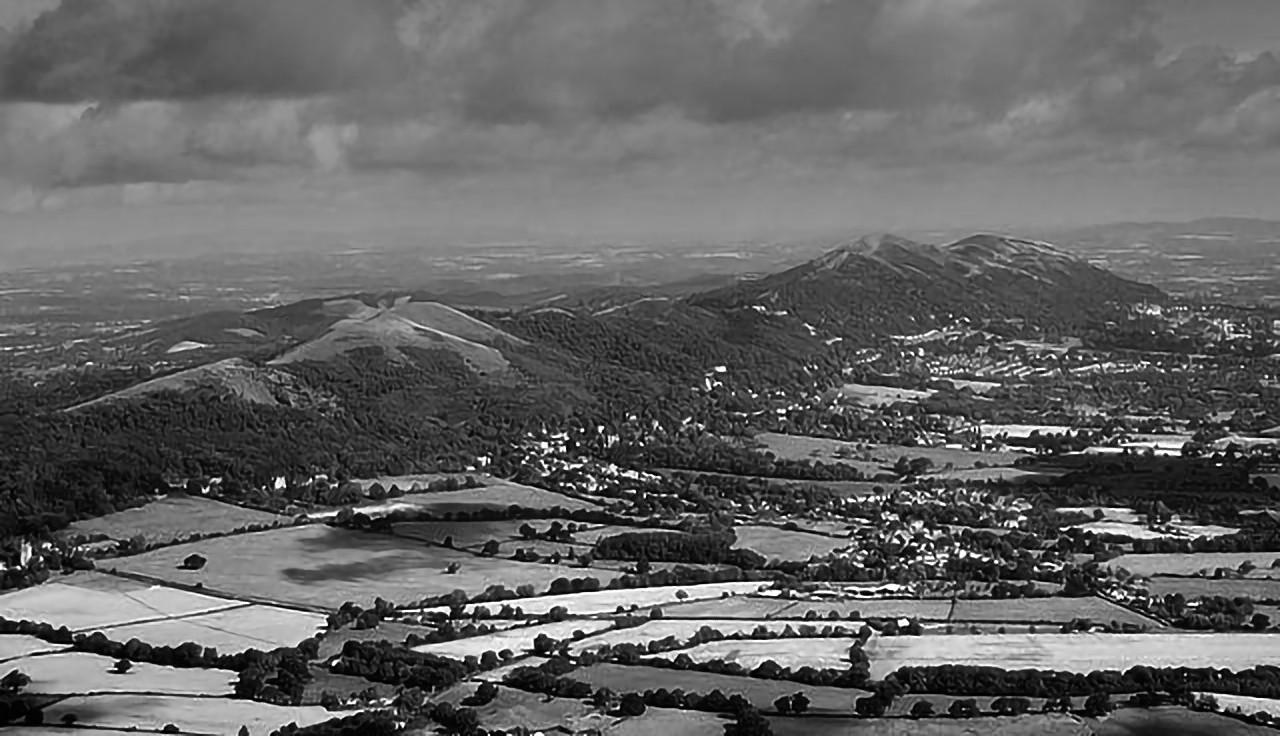 A view of Malvern Hills in Worcestershire, England from the air.