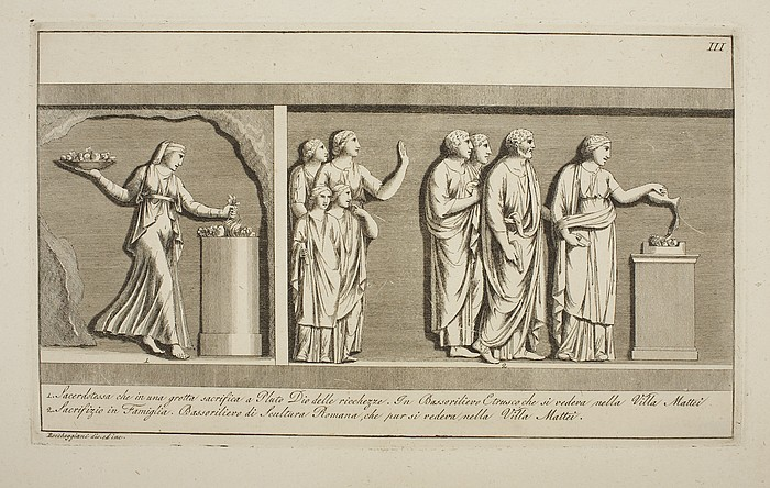 """Illustration of antique reliefs by Lorenzo Roccheggiani. """"Priestess offering to Hades. A Family offering, 1804"""""""