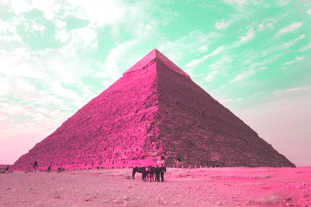 A pyramid with a pink filter.