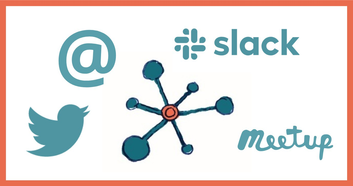 logos all in the same blue as our brand colour: slack, twitter, meetup, email
