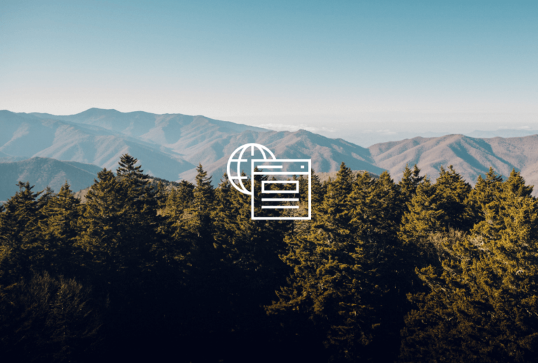 Forrest treetops with a mountain range in the background and a pictogram of the internet in the center.