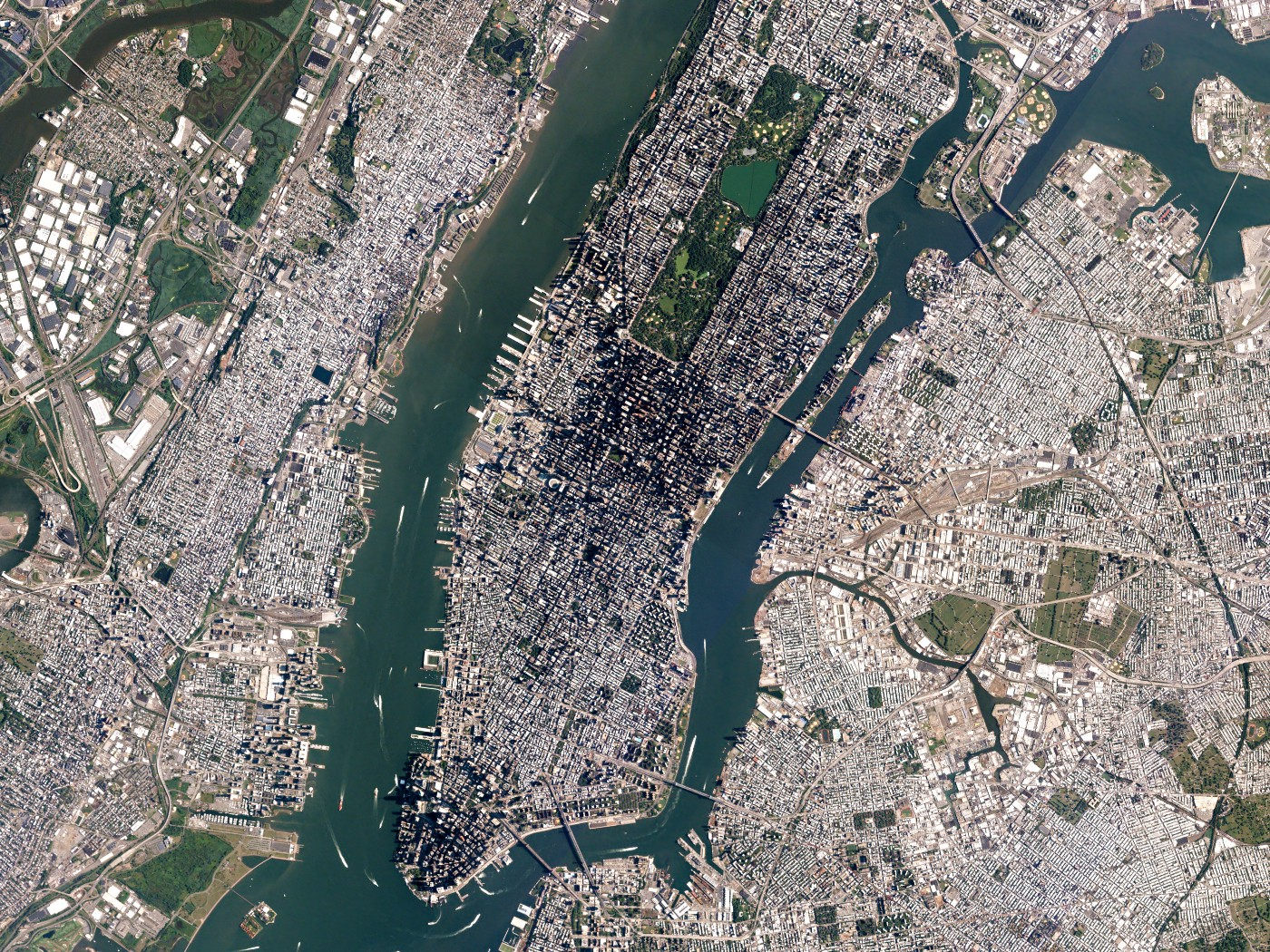 Satellite image for New York City taken from the PlanetScope satellite