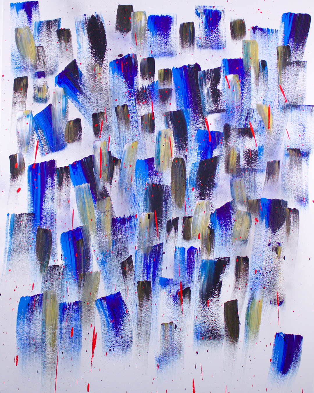 Abstract painting by the author. Blue, black, white and gold brush strokes with drips and splashes of bright red and grey fog