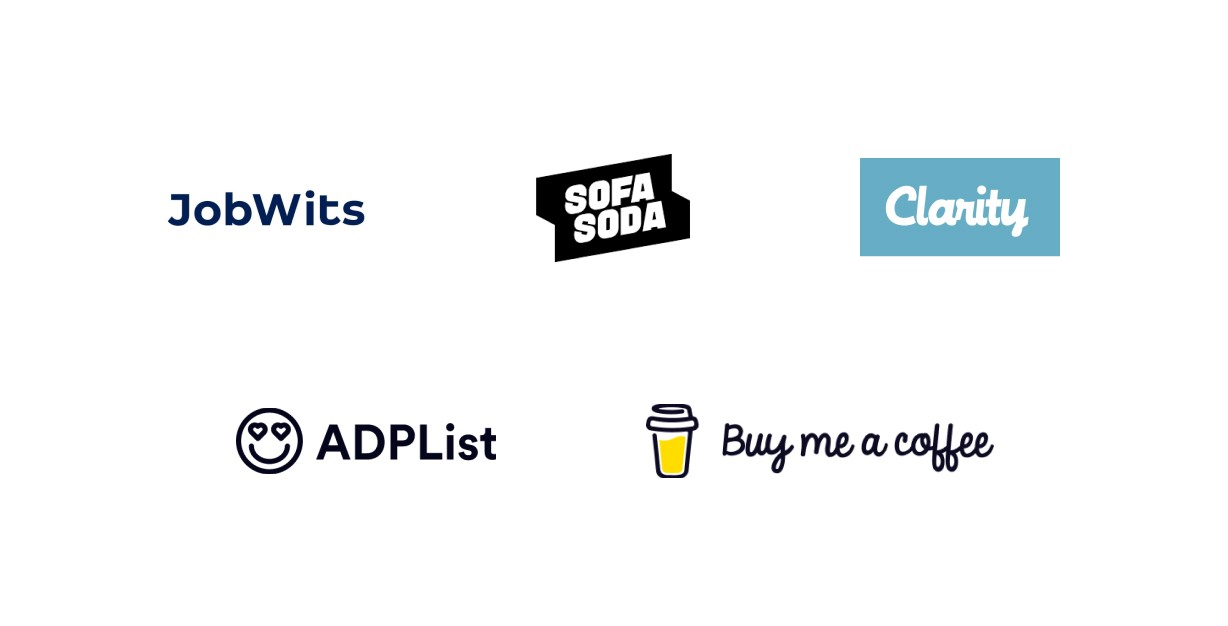 Consulting platforms: JobWits, Sofasoda, Clarity, ADPList, and Buy me a coffee