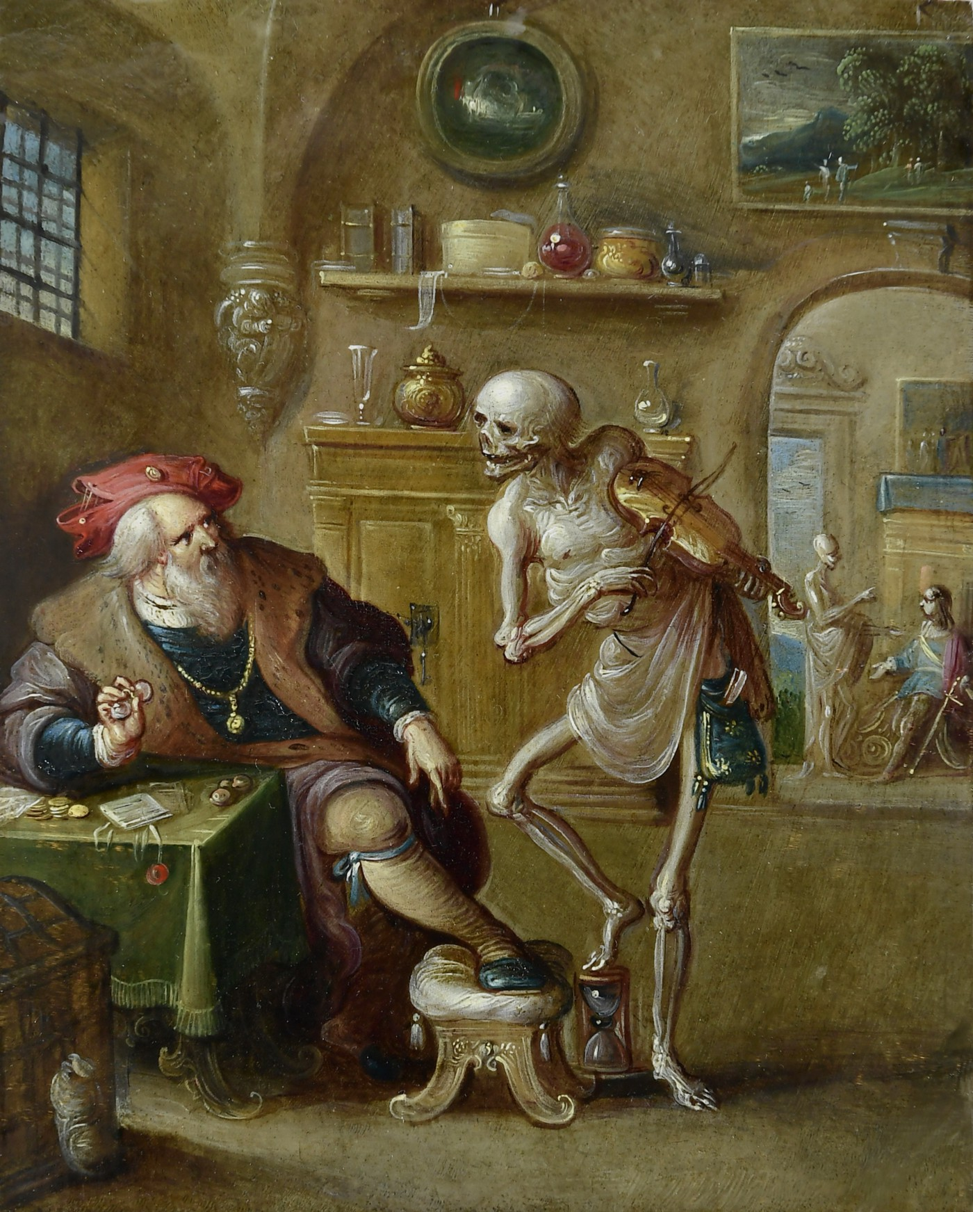 Death Playing the Violin by Frans Francken the Younger. A 17th century painting featuring a music-playing skeleton