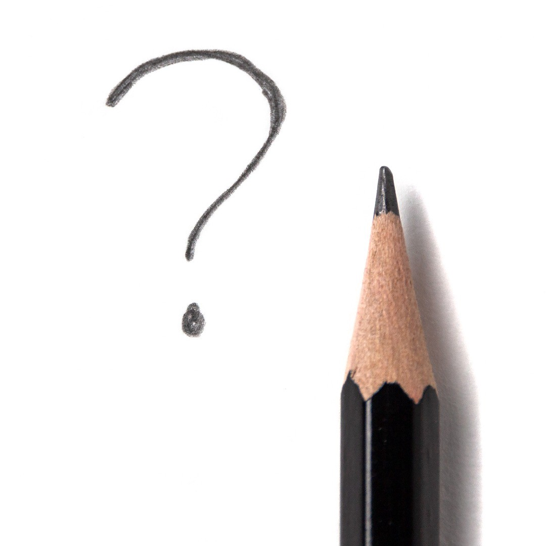 A pencil next to a question mark.