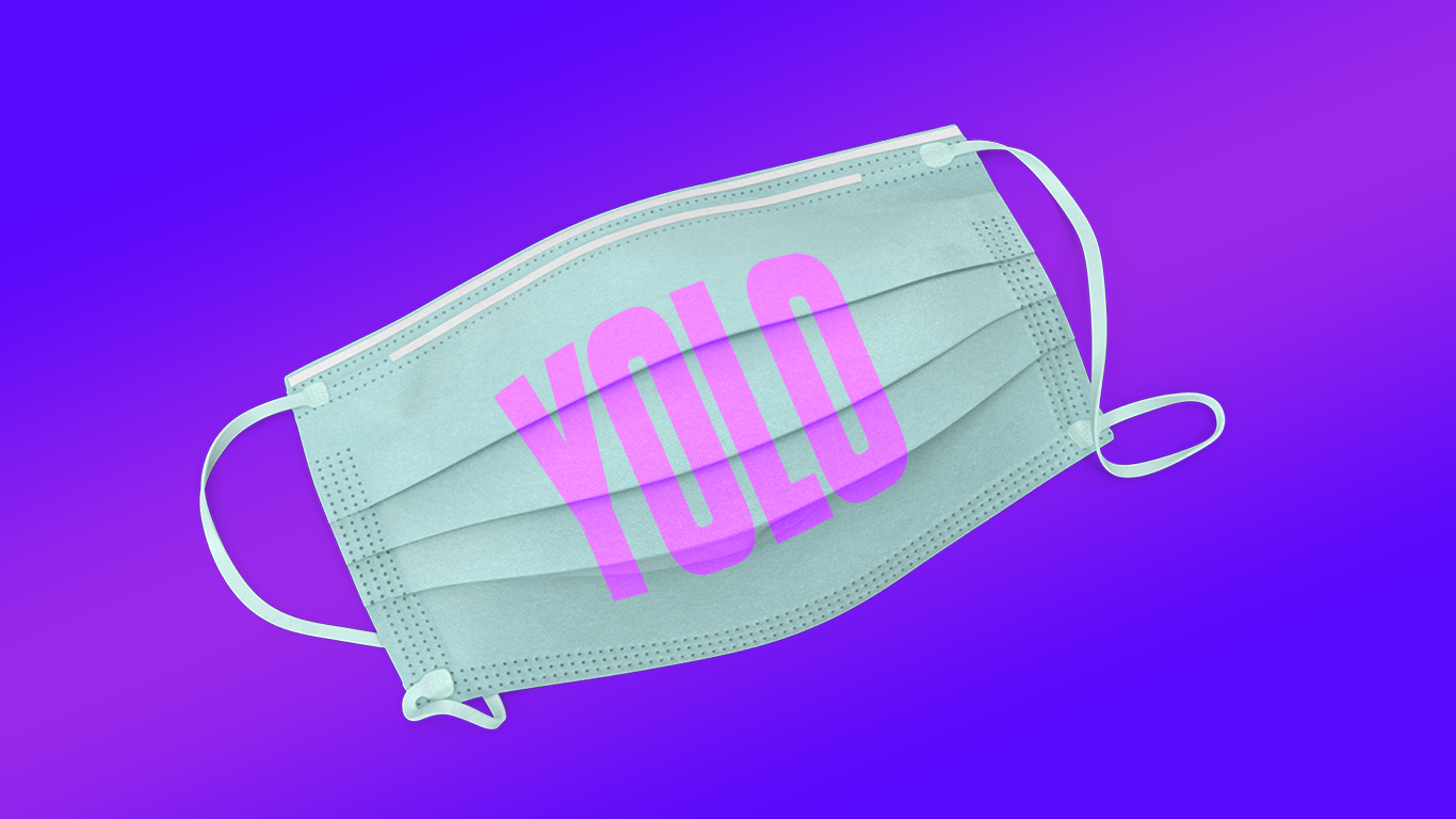 A surgical mask with the letters Y O L O printed on it over a purple and pink background