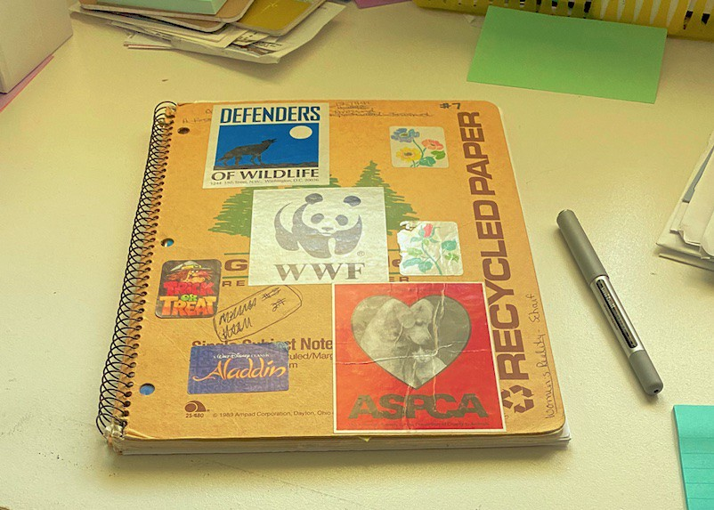 spiral notebook with stickers on it and a pen next to it