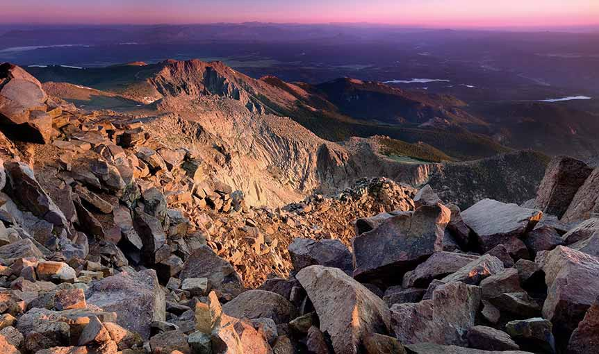 Rocky mountain side at dusk
