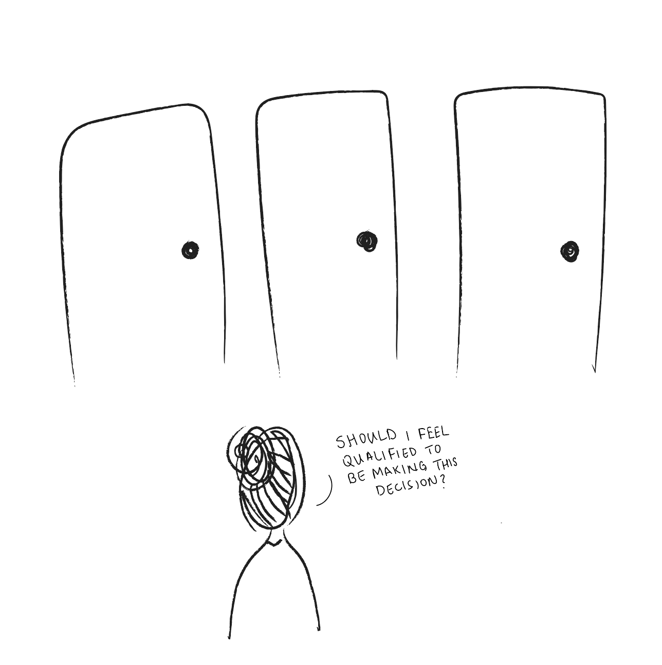 An illustration of a girl looking at three doors unsure of which to choose