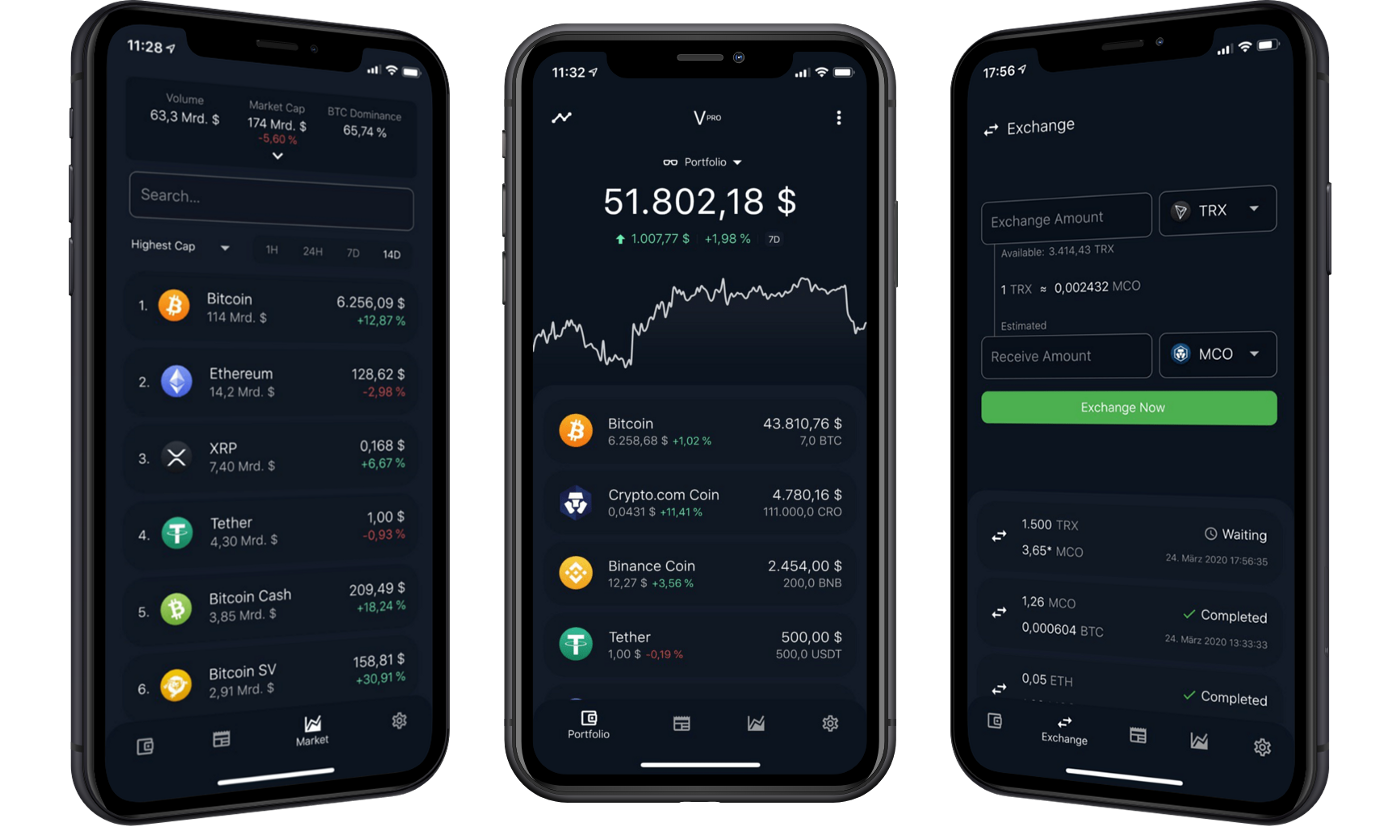 Three of our Main Features: Market Overview, Portfolio and Exchange