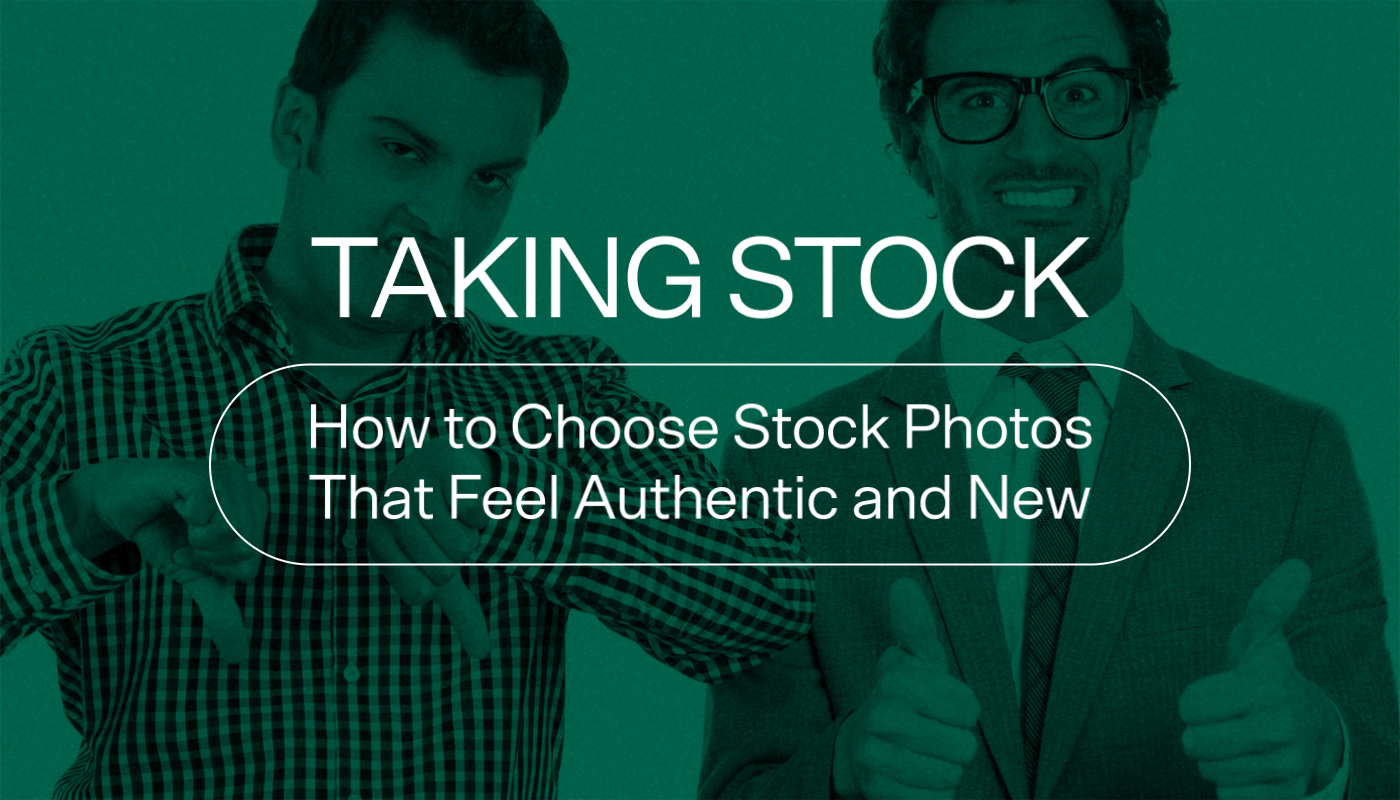 Cheesy stock image of two professional men with thumbs up and down. Taking Stock: How to Choose Stock Photos that Feel Authentic and New