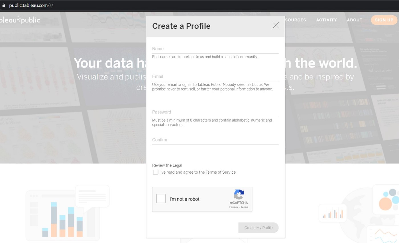Screengrab of the pop-up explaining the details required to sign up for a Tableau Public profile