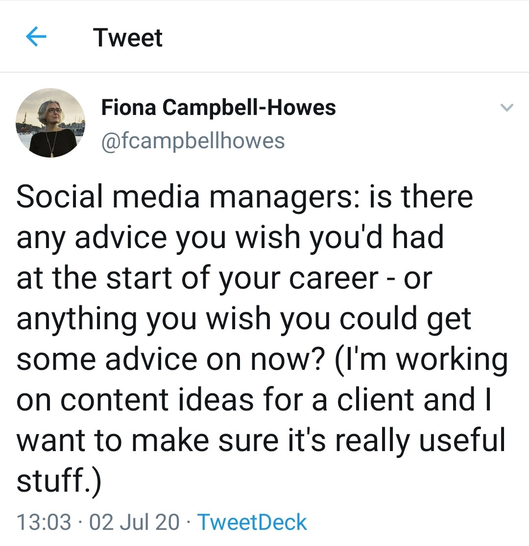 A writer tweets a question about social media management