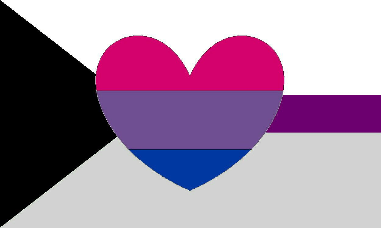 Image: The demisexual pride flag—a horizontal white band over a grey band with a purple stripe running through the middle a