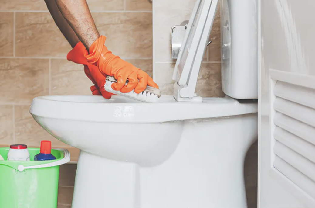 picture of guy choosing to clean the toilet instead of wash dishes
