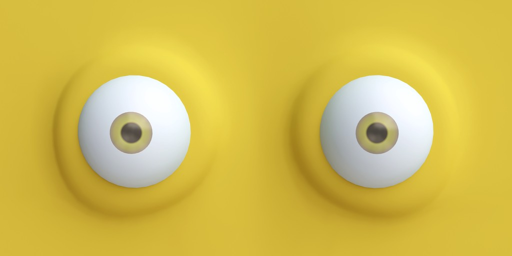 Illustration of eyeballs staring at viewer on yellow background