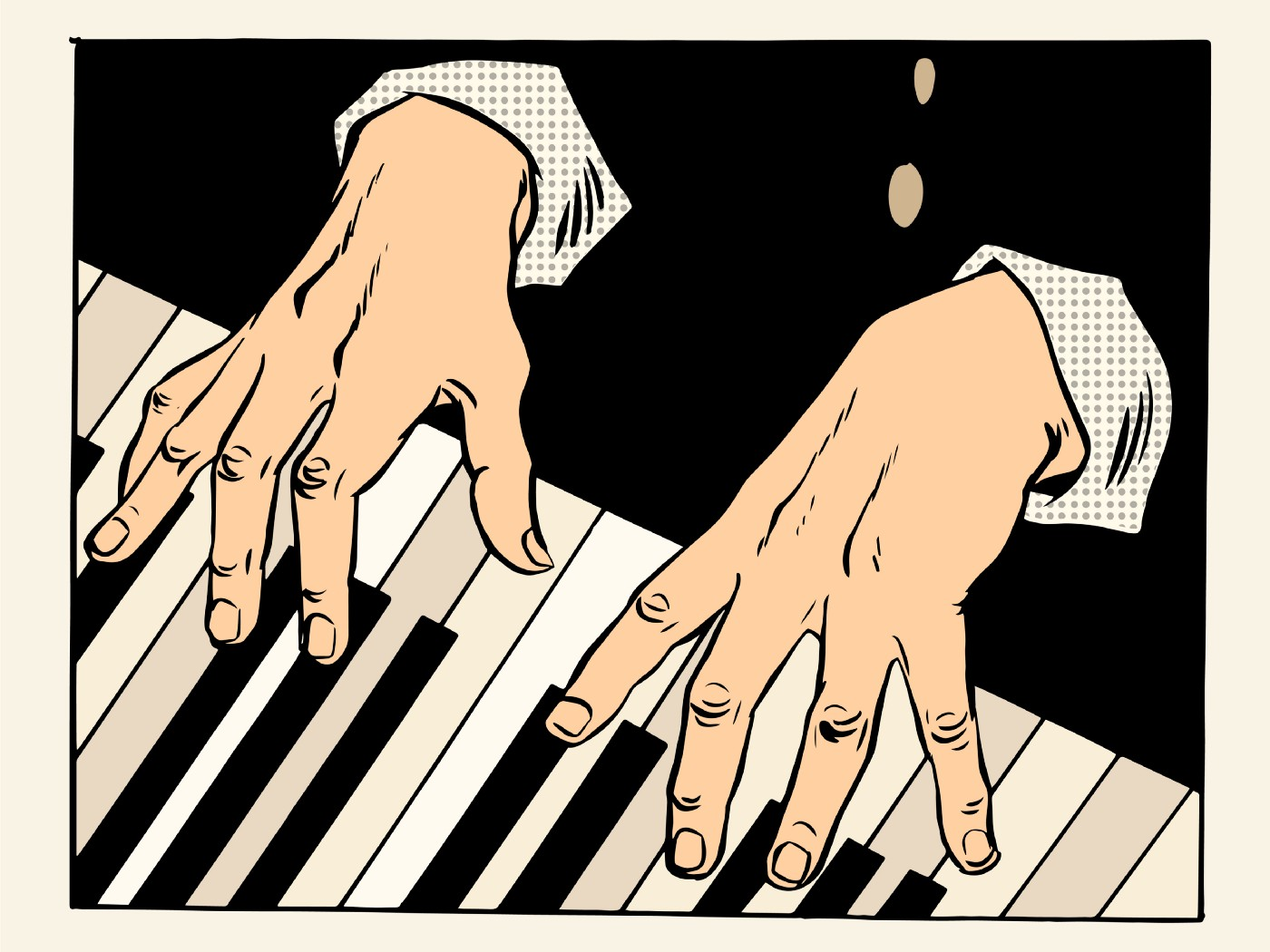 Two male hands playing a piano keyboard